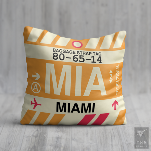 YHM Designs - MIA Miami Airport Code Throw Pillow - Housewarming Gift, Birthday Gift, Teacher Gift, Thank You Gift