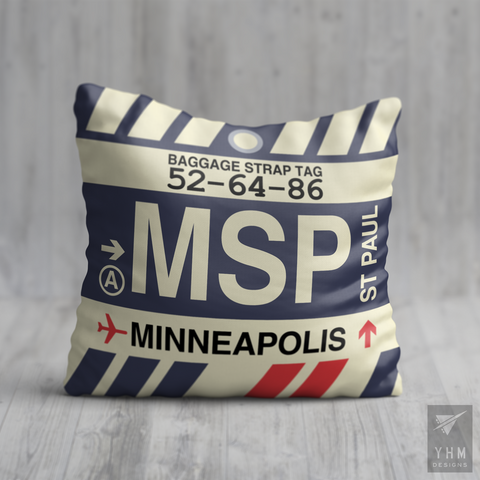 YHM Designs - MSP Minneapolis-St. Paul Airport Code Throw Pillow - Housewarming Gift, Birthday Gift, Teacher Gift, Thank You Gift