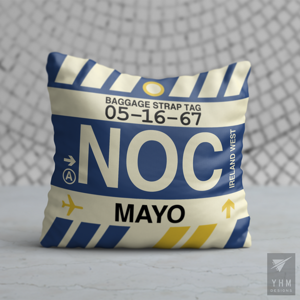 YHM Designs - NOC Mayo Airport Code Throw Pillow - Housewarming Gift, Birthday Gift, Teacher Gift, Thank You Gift