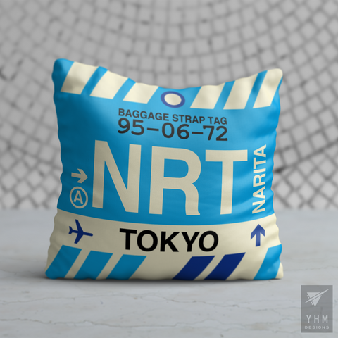 YHM Designs - NRT Tokyo Airport Code Throw Pillow - Housewarming Gift, Birthday Gift, Teacher Gift, Thank You Gift