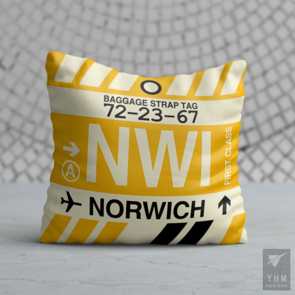 YHM Designs - NWI Norwich Airport Code Throw Pillow - Housewarming Gift, Birthday Gift, Teacher Gift, Thank You Gift
