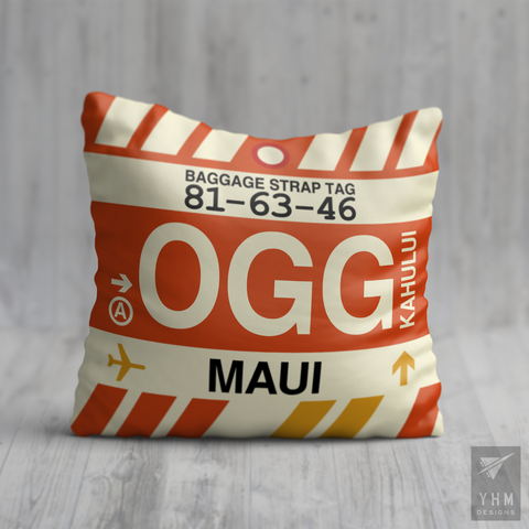 YHM Designs - OGG Maui Airport Code Throw Pillow - Housewarming Gift, Birthday Gift, Teacher Gift, Thank You Gift