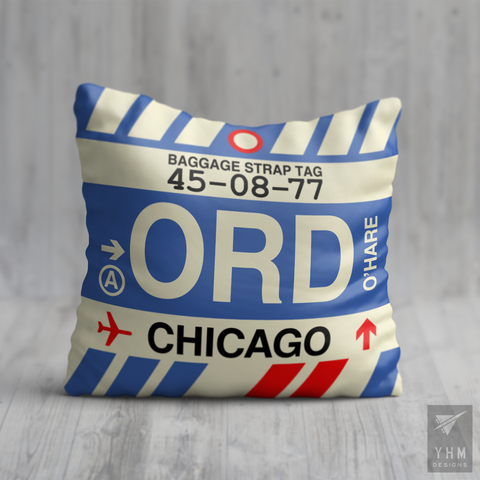 YHM Designs - ORD Chicago Airport Code Throw Pillow - Housewarming Gift, Birthday Gift, Teacher Gift, Thank You Gift