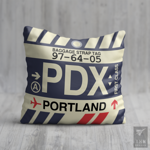 YHM Designs - PDX Portland Airport Code Throw Pillow - Housewarming Gift, Birthday Gift, Teacher Gift, Thank You Gift