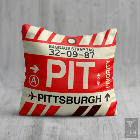 YHM Designs - PIT Pittsburgh Airport Code Throw Pillow - Housewarming Gift, Birthday Gift, Teacher Gift, Thank You Gift
