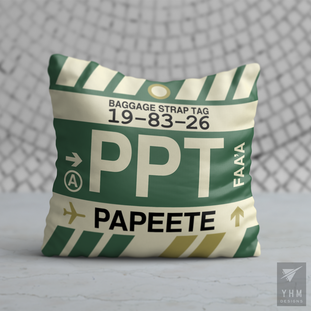 YHM Designs - PPT Papeete Airport Code Throw Pillow - Housewarming Gift, Birthday Gift, Teacher Gift, Thank You Gift