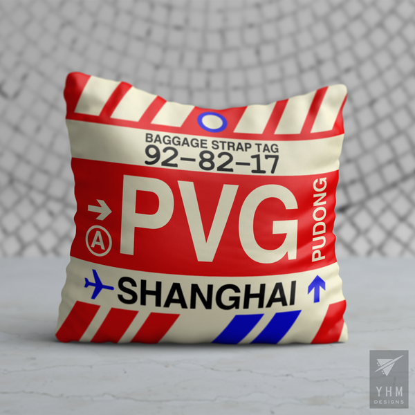 YHM Designs - PVG Shanghai Airport Code Throw Pillow - Housewarming Gift, Birthday Gift, Teacher Gift, Thank You Gift
