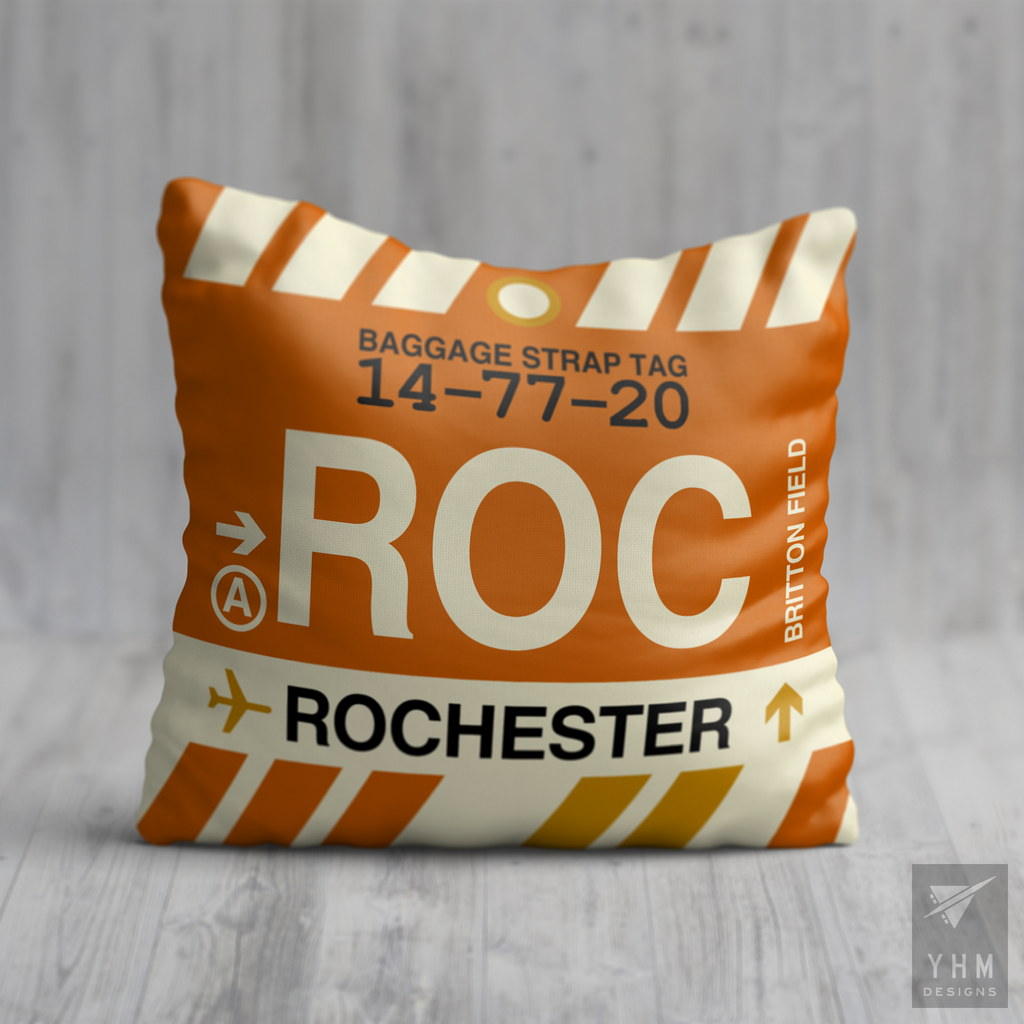 YHM Designs - ROC Rochester Airport Code Throw Pillow - Housewarming Gift, Birthday Gift, Teacher Gift, Thank You Gift