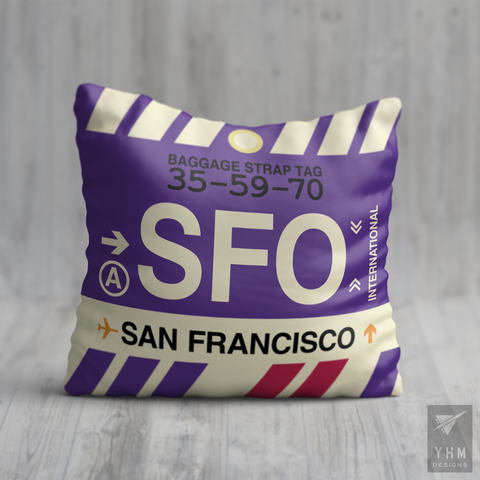 YHM Designs - SFO San Francisco Airport Code Throw Pillow - Housewarming Gift, Birthday Gift, Teacher Gift, Thank You Gift