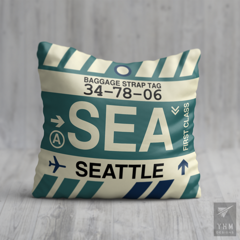 YHM Designs - SEA Seattle Airport Code Throw Pillow - Housewarming Gift, Birthday Gift, Teacher Gift, Thank You Gift
