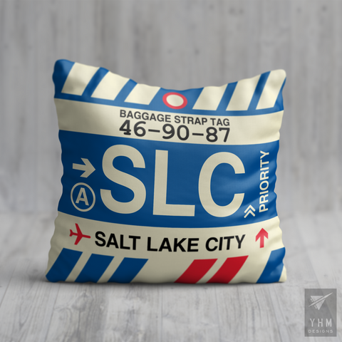 YHM Designs - SLC Salt Lake City Airport Code Throw Pillow - Housewarming Gift, Birthday Gift, Teacher Gift, Thank You Gift