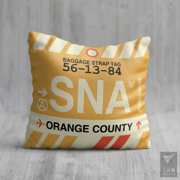 YHM Designs - SNA Orange County Airport Code Throw Pillow - Housewarming Gift, Birthday Gift, Teacher Gift, Thank You Gift