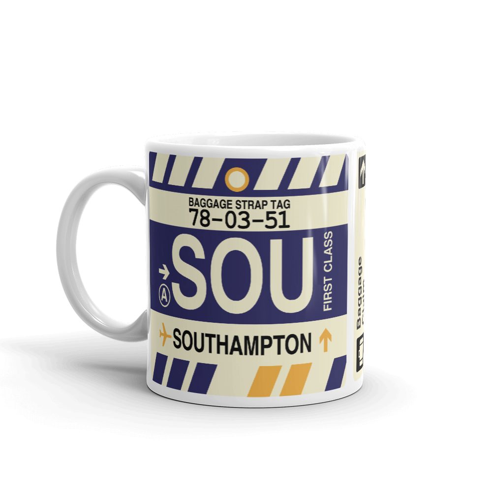 YHM Designs - SOU Southampton Airport Code Coffee Mug - Birthday Gift, Christmas Gift - Left