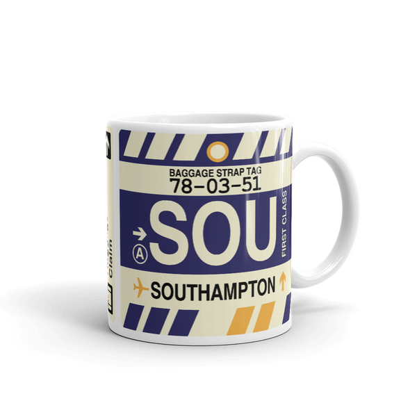 YHM Designs - SOU Southampton Airport Code Coffee Mug - Graduation Gift, Housewarming Gift - Right