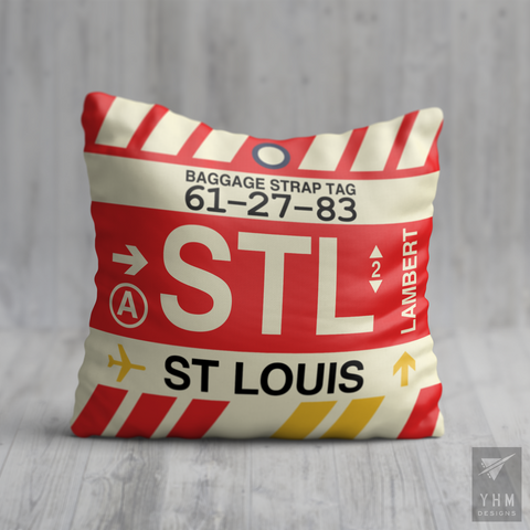YHM Designs - STL St. Louis Airport Code Throw Pillow - Housewarming Gift, Birthday Gift, Teacher Gift, Thank You Gift