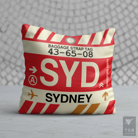 YHM Designs - SYD Sydney Airport Code Throw Pillow - Housewarming Gift, Birthday Gift, Teacher Gift, Thank You Gift
