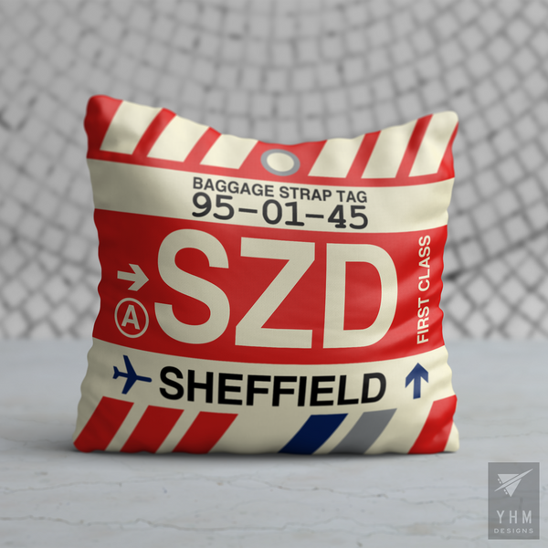 YHM Designs - SZD Sheffield Airport Code Throw Pillow - Housewarming Gift, Birthday Gift, Teacher Gift, Thank You Gift