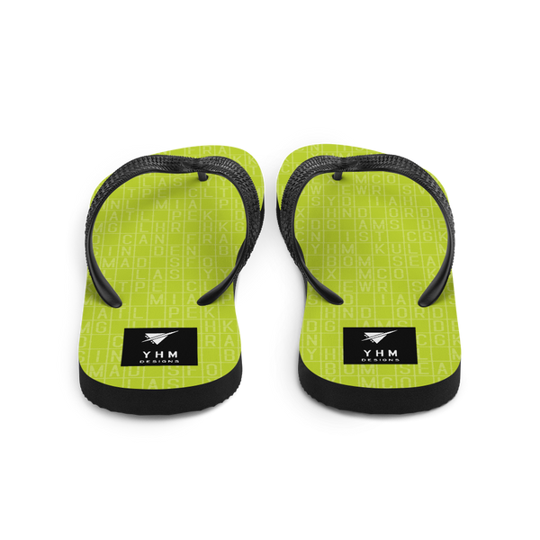 YHM Designs  •  Split-Flap Display Flip-Flops • Bright Lime Green 2