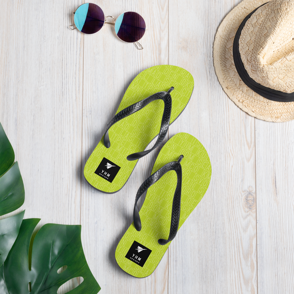 YHM Designs  •  Split-Flap Display Flip-Flops • Bright Lime Green 8