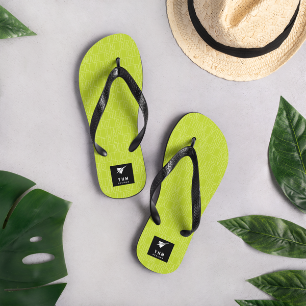 YHM Designs  •  Split-Flap Display Flip-Flops • Bright Lime Green 9