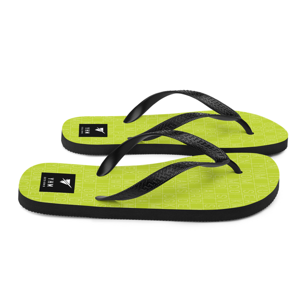 YHM Designs  •  Split-Flap Display Flip-Flops • Bright Lime Green 3