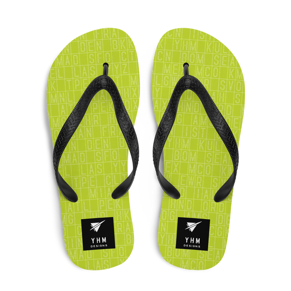 YHM Designs  •  Split-Flap Display Flip-Flops • Bright Lime Green 1