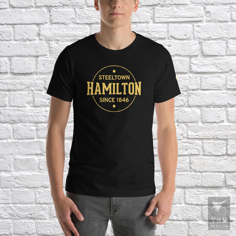 YHM Designs - Hamilton: Steeltown Since 1846 T-Shirt - Black - Hamilton Ontario Canada Gift - Christmas Birthday - 1