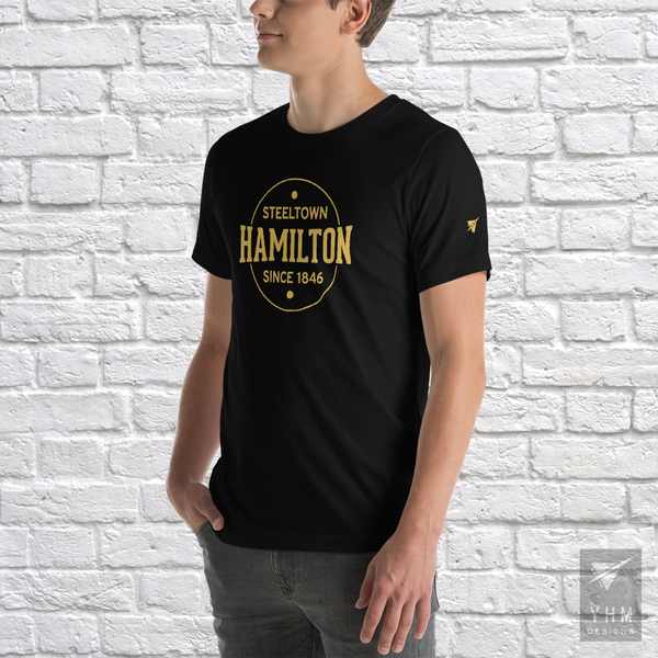 YHM Designs - Hamilton: Steeltown Since 1846 T-Shirt - Black - Hamilton Ontario Canada Gift - Christmas Birthday - 2