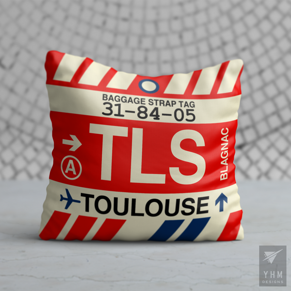 YHM Designs - TLS Toulouse Airport Code Throw Pillow - Housewarming Gift, Birthday Gift, Teacher Gift, Thank You Gift
