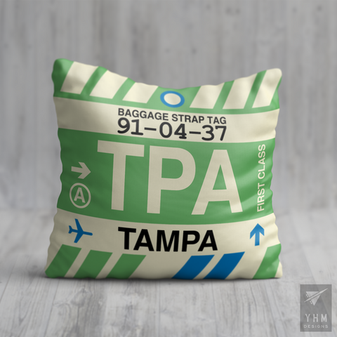 YHM Designs - TPA Tampa Airport Code Throw Pillow - Housewarming Gift, Birthday Gift, Teacher Gift, Thank You Gift