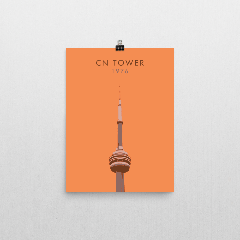 "YHM Designs - CN Tower Toronto Poster - 12""x16"" Wall"