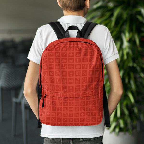 "YHM Designs  •  Airport Symbols 15.6"" Laptop Backpack • Cherry Tomato Red 8"