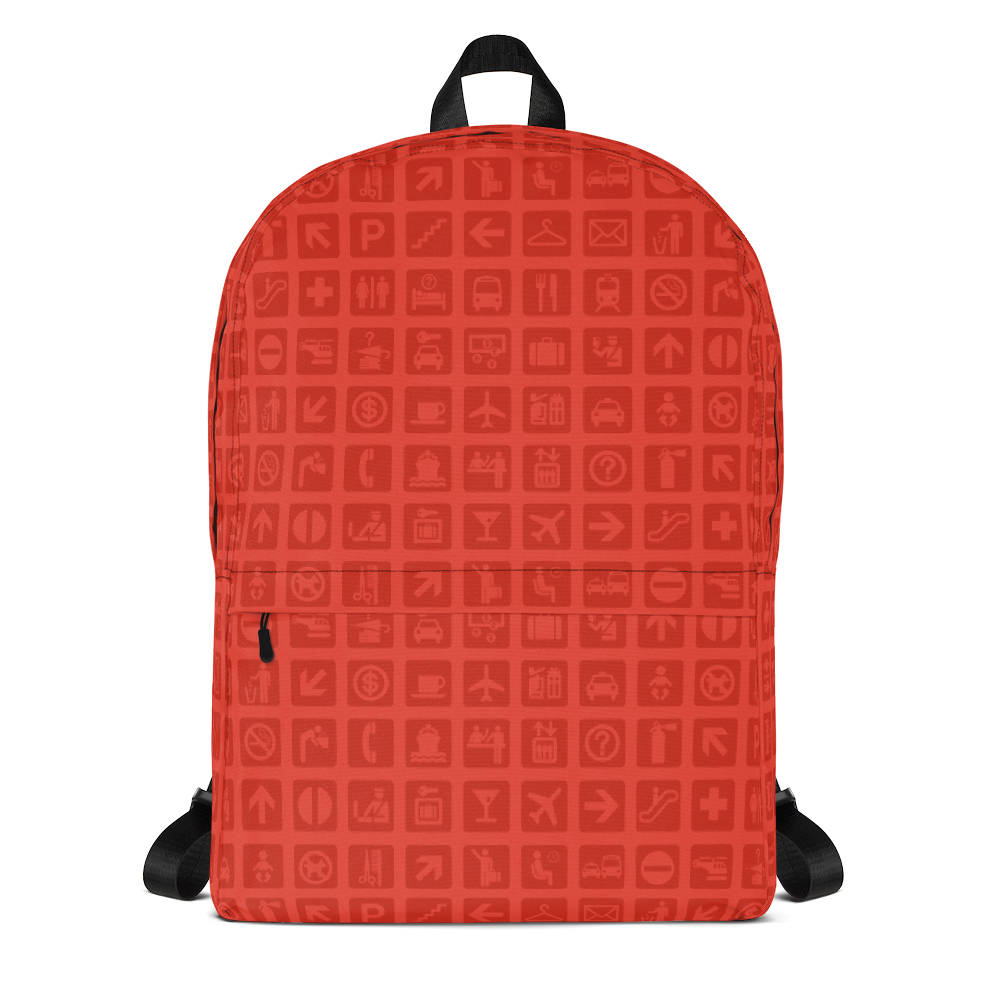 "YHM Designs  •  Airport Symbols 15.6"" Laptop Backpack • Cherry Tomato Red 1"