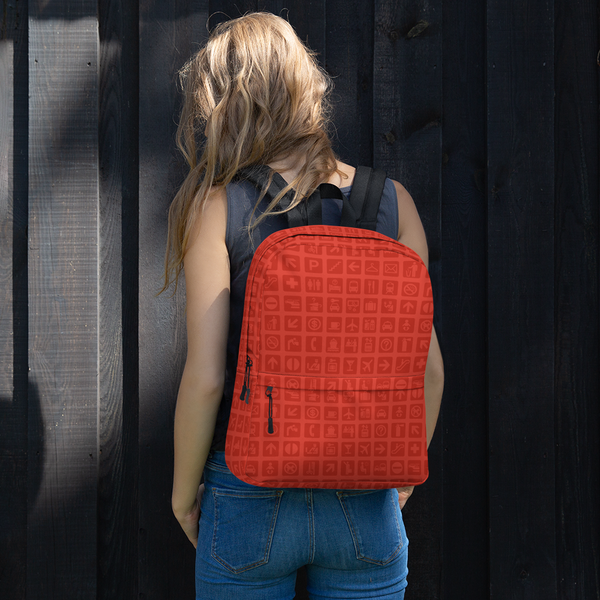 "YHM Designs  •  Airport Symbols 15.6"" Laptop Backpack • Cherry Tomato Red 11"