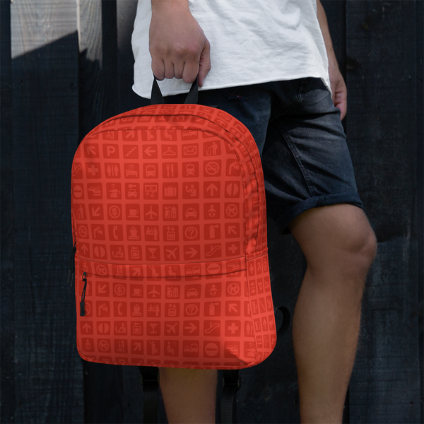 "YHM Designs  •  Airport Symbols 15.6"" Laptop Backpack • Cherry Tomato Red 15"
