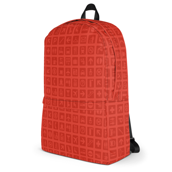 "YHM Designs  •  Airport Symbols 15.6"" Laptop Backpack • Cherry Tomato Red 3"
