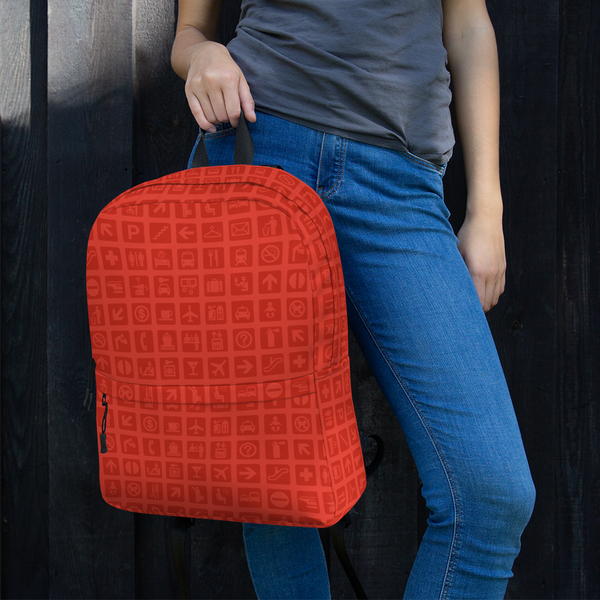"YHM Designs  •  Airport Symbols 15.6"" Laptop Backpack • Cherry Tomato Red 12"