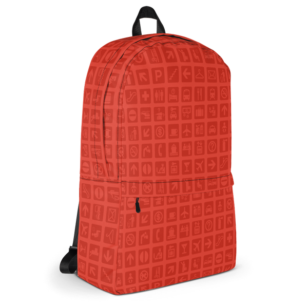 "YHM Designs  •  Airport Symbols 15.6"" Laptop Backpack • Cherry Tomato Red 2"