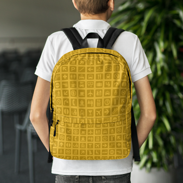"YHM Designs  •  Airport Symbols 15.6"" Laptop Backpack • Citrine Yellow 8"