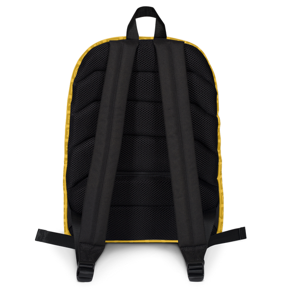 "YHM Designs  •  Airport Symbols 15.6"" Laptop Backpack • Citrine Yellow 4"