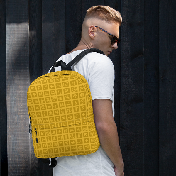 "YHM Designs  •  Airport Symbols 15.6"" Laptop Backpack • Citrine Yellow 14"