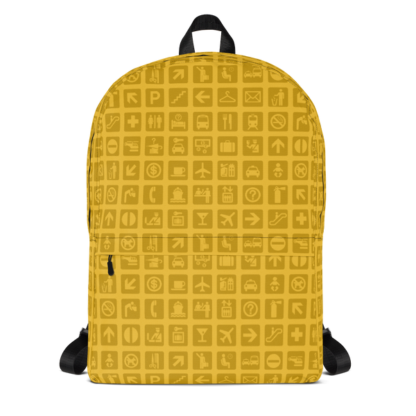 "YHM Designs  •  Airport Symbols 15.6"" Laptop Backpack • Citrine Yellow 1"