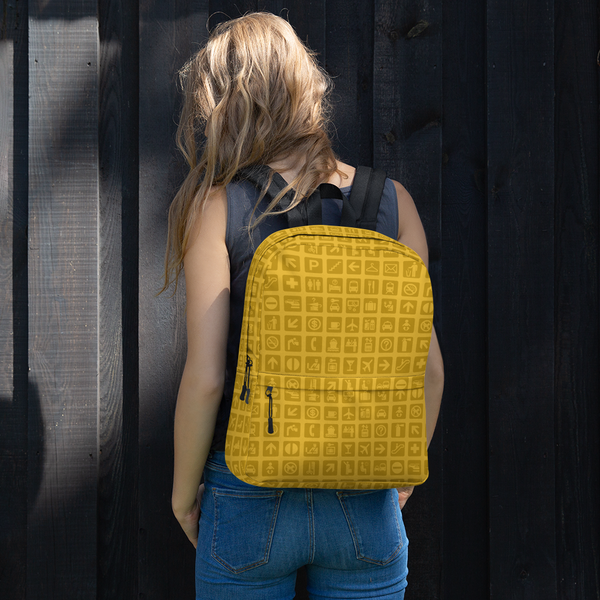 "YHM Designs  •  Airport Symbols 15.6"" Laptop Backpack • Citrine Yellow 11"