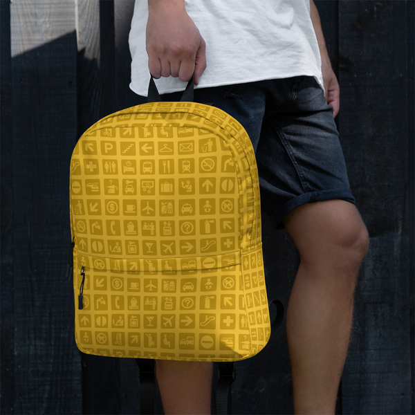 "YHM Designs  •  Airport Symbols 15.6"" Laptop Backpack • Citrine Yellow 15"