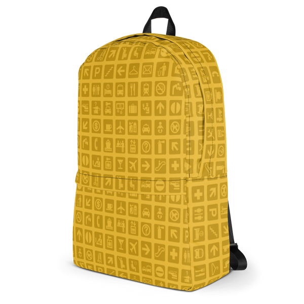 "YHM Designs  •  Airport Symbols 15.6"" Laptop Backpack • Citrine Yellow 3"