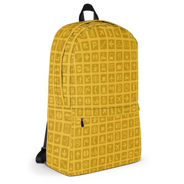 "YHM Designs  •  Airport Symbols 15.6"" Laptop Backpack • Citrine Yellow 2"