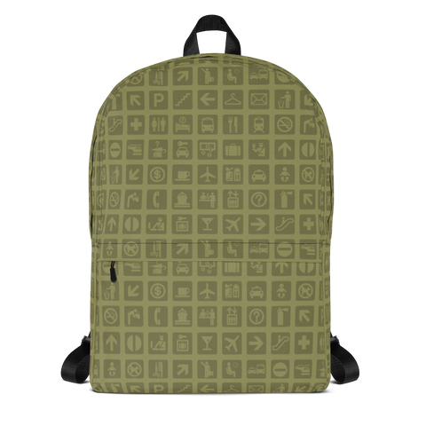 "YHM Designs  •  Airport Symbols 15.6"" Laptop Backpack • Fresh Olive Green 1"