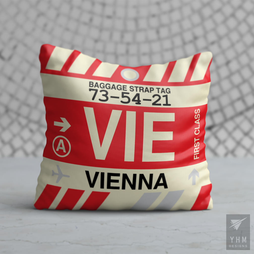 YHM Designs - VIE Vienna Airport Code Throw Pillow - Housewarming Gift, Birthday Gift, Teacher Gift, Thank You Gift
