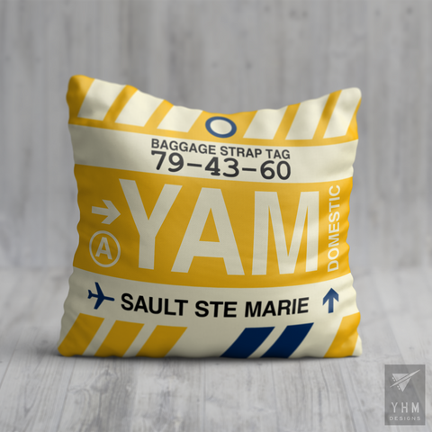 YHM Designs - YAM Sault-Ste-Marie Airport Code Throw Pillow - Housewarming Gift, Birthday Gift, Teacher Gift, Thank You Gift