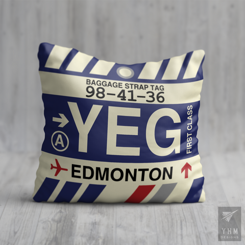 YHM Designs - YEG Edmonton Airport Code Throw Pillow - Housewarming Gift, Birthday Gift, Teacher Gift, Thank You Gift